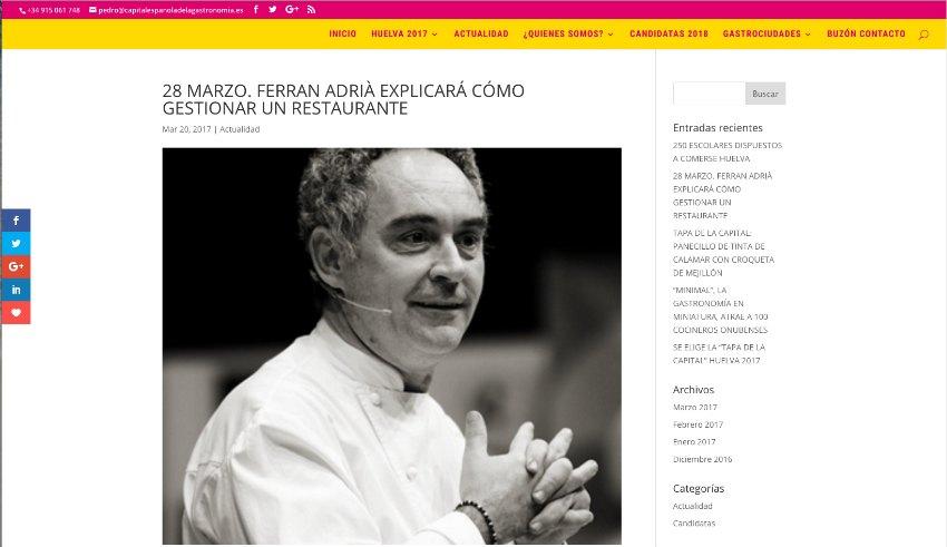 Web capital española de la gastronomia carlosmarca wordpress barcelona