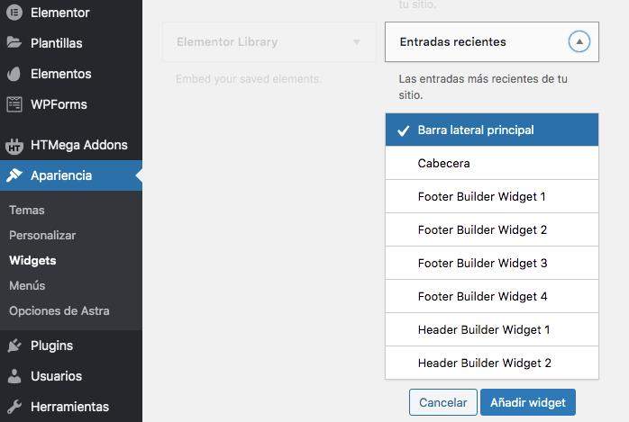 Añadir un widget en wordpress carlosmarca